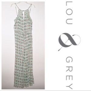 Lou & Grey Green & Coral Printed Maxi Dress